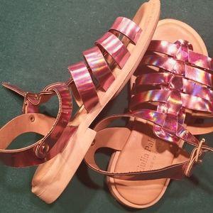 Pink chrome girls sandals